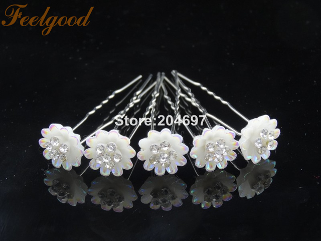 Feelgood 200pcs lot Resin Flower Hair Pins With Crystal Stone Bridal  Jewelry Wedding Hair Accessories 5e7f978eddfd