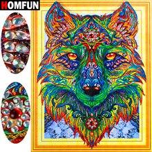 HOMFUN 5D Special Shape Diamond Embroidery Wolf Painting Animal gift Pattern Rhinestones Needle Arts Gift 40x50cm