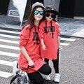 Hija de la madre vestidos de moda a juego de ropa de algodón de manga corta rojo mamá y bebé vestidos family look clothing 4-12y