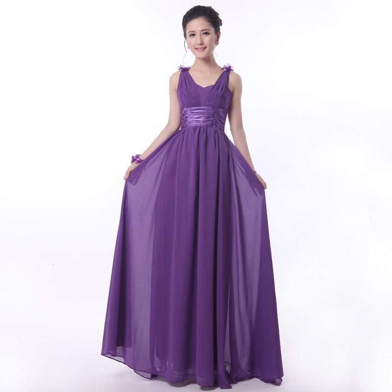 Real púrpura Vestido De dama formal largo De la gasa dama De honor ...