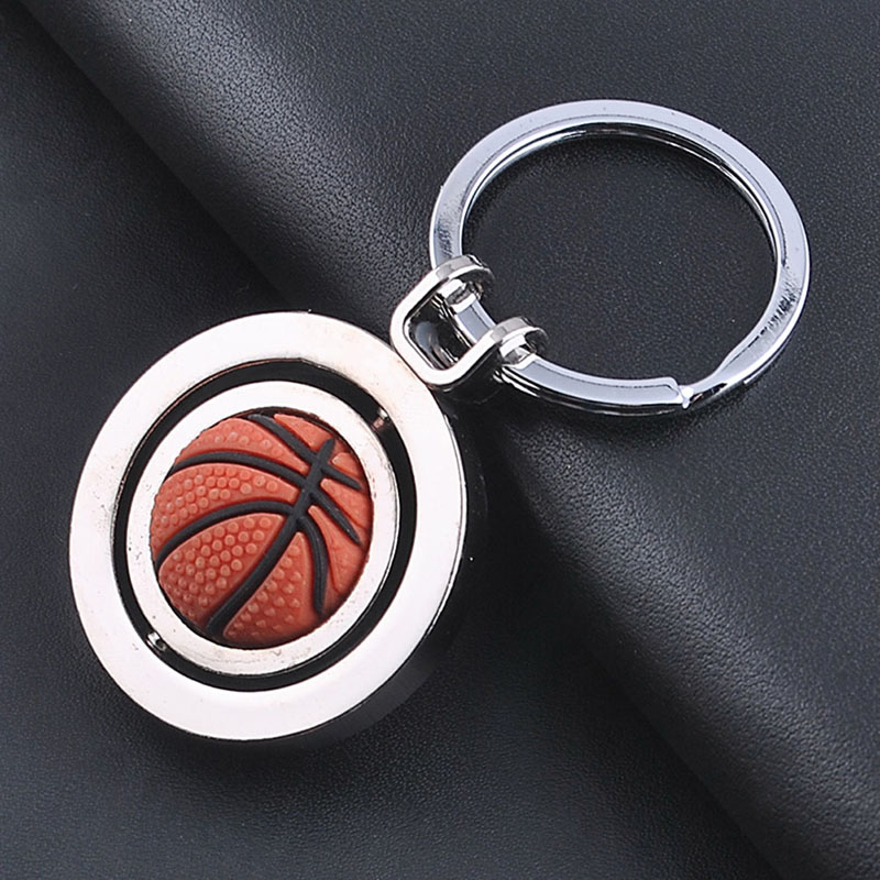 3D Sports Rotating Soccer Golf Basketball Football Keychain Ring Keyring Key Fob