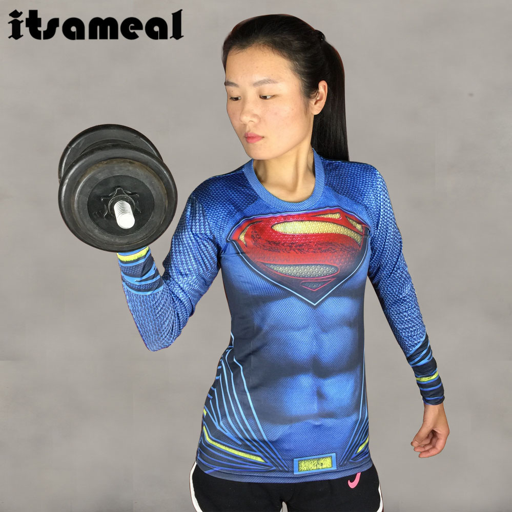 atman VS Superman 3D Printed T Shirt Women Compression Shirt Ladies Raglan Long Sleeve Cosplay Costume Fitness Tops For Female