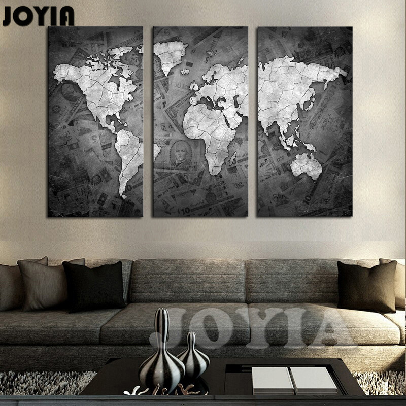 Large world map wall art canvas black metalic modern for Cadre multi photos mural