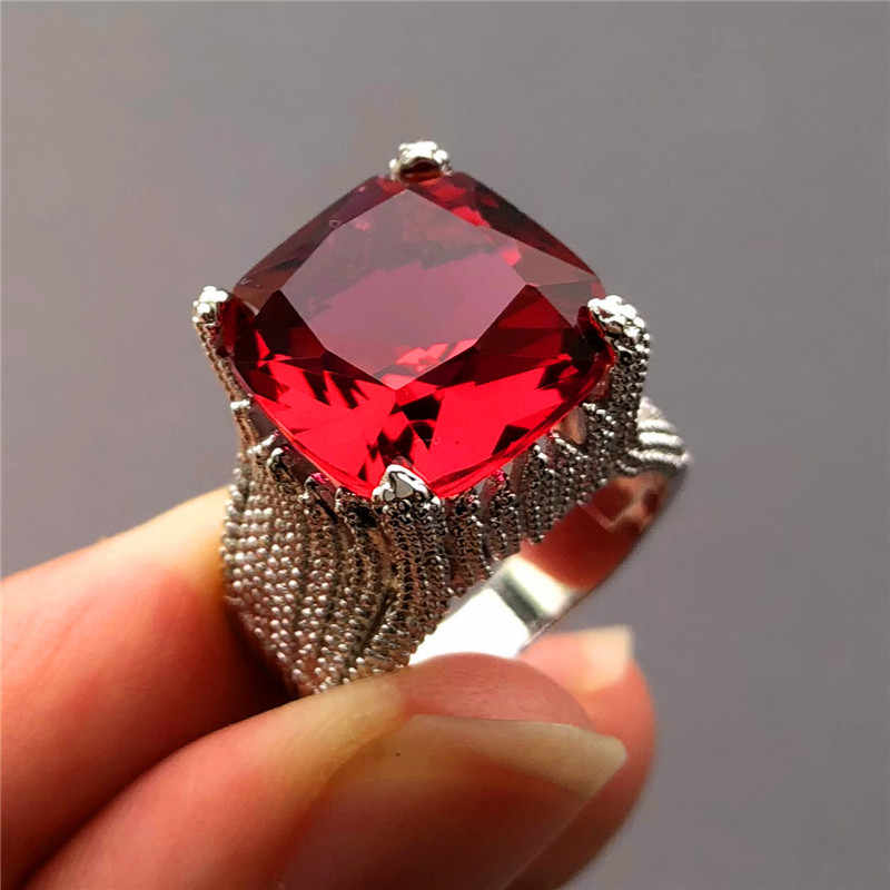 Luxury Female Big Red Stone Ring Vintage 925 Silver Geometric Finger Ring Promise Wedding Engagement Rings For Women