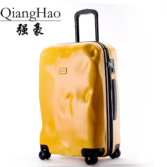 QiangHao!New Fashion Crash Baggage Design Solid Zipper Suitcase TSA Loc Luggage women Travel bag Men ABS Spinner Luggage