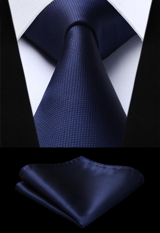 Woven Men Navy Blue Tie Plaid & Check Necktie Handkerchief Set#TC626V8S Party Wedding Classic Fashion Pocket Square Tie