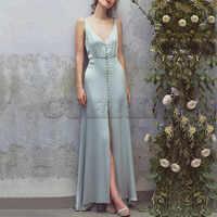 Cuerly High Quality Summer Dress 2019 Women Vintage V-neck Sleeveless Ruffles Pleated Long Dress Designer Runway Dresses