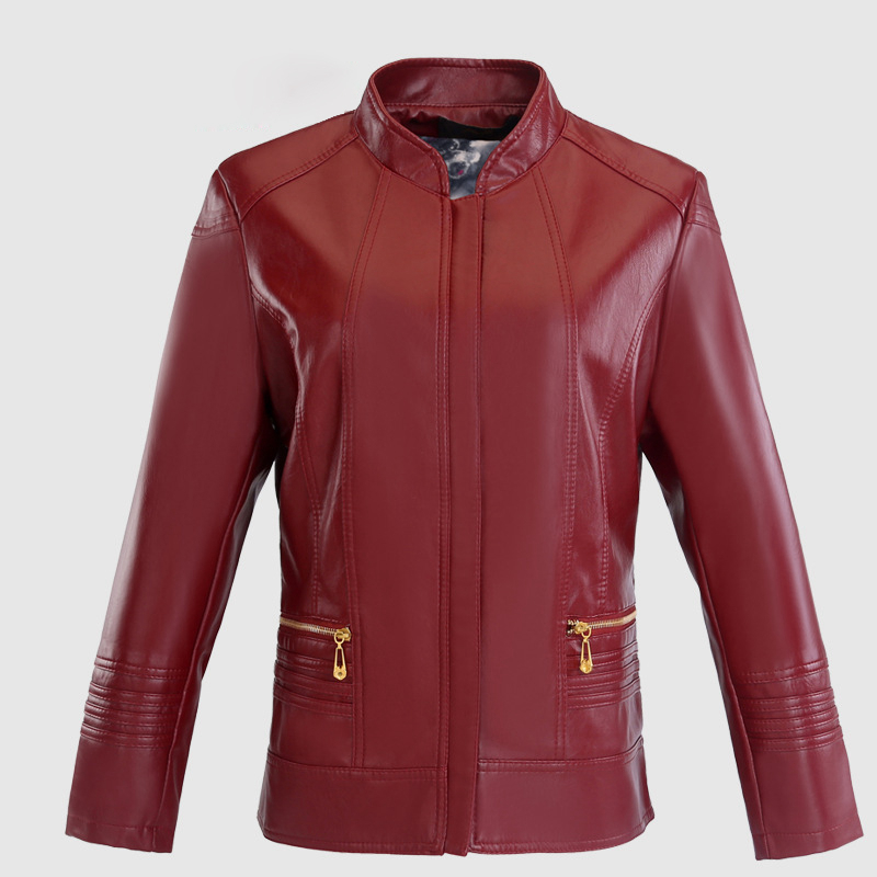 world-wide free shipping superior quality hot products Red burgundy green plus size long sleeve O neck zip up PU coats for women  ladies oversize slim faux leather look jackets outwear