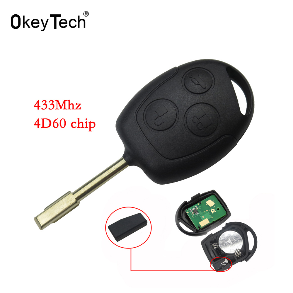 OkeyTech 3 Button 433Mhz 4D60 Carbon Transponder Chip Auto Car Remote Key Fob For Ford Mondeo Fiesta C-MAX Fusion FO21 Blade