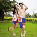 Large Size Quick-drying Summer Star Striped Men's Beach Pants Lovers Shorts Men