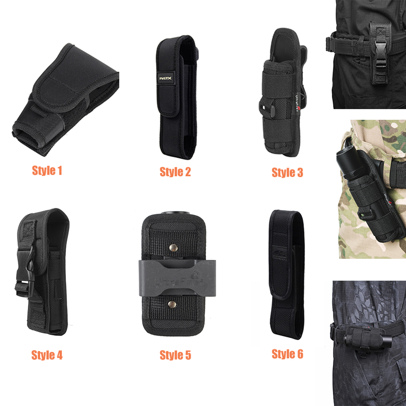 Molle Tactical Flashlight Pouch Multifunctional LED Torch Holster Case Cover Outdoor Camping Hiking Hunting Tools Survival Kits