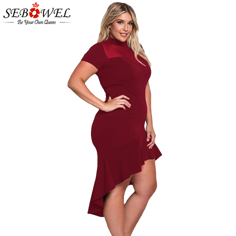 SEBOWEL Plus Size Sexy Schwarz Mesh Club Kleid Frauen Sexy Kurzarm - Damenbekleidung - Foto 5