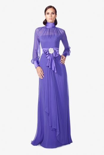 New Arrival Purple High Collar Long Sleeve Long Chiffon Mother Of The Bride Dresses Floor-Length Gelin Anne Elbise MBD84