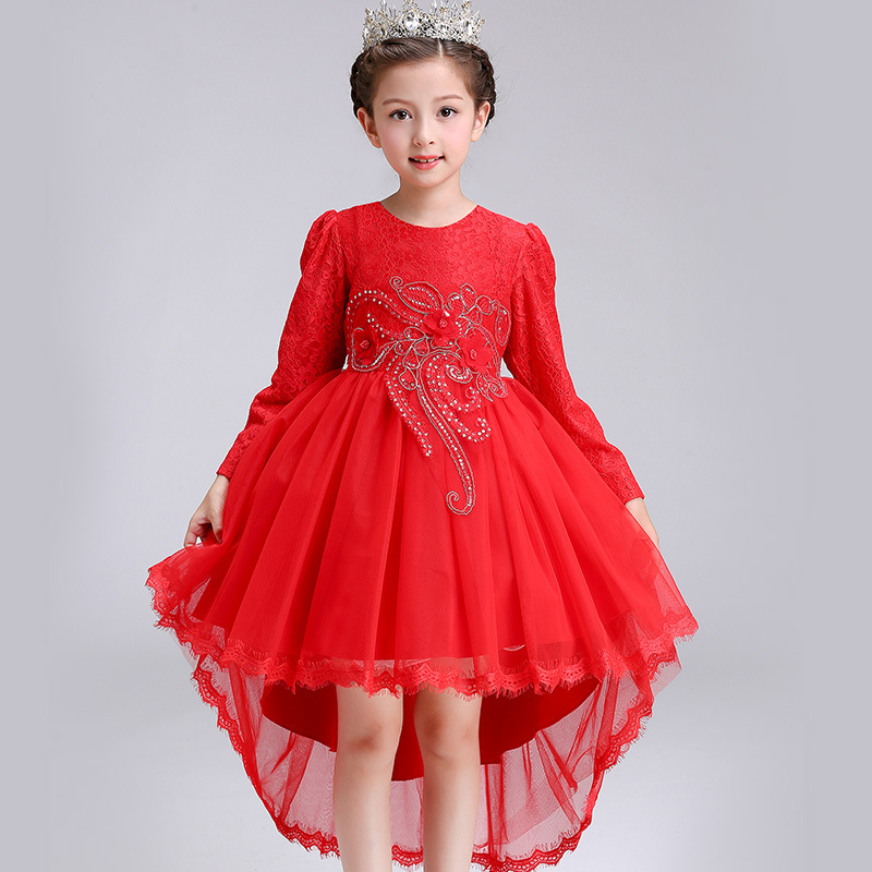 New Long sleeve Trailing Autumn Christmas Princess Flower Girls Dress Kids Baby Children Party Evening Dresses Teenager Clothes new 2017 baby girls ruffle sweater dress kids long sleeve princess party christmas dresses autumn toddler girl children clothes