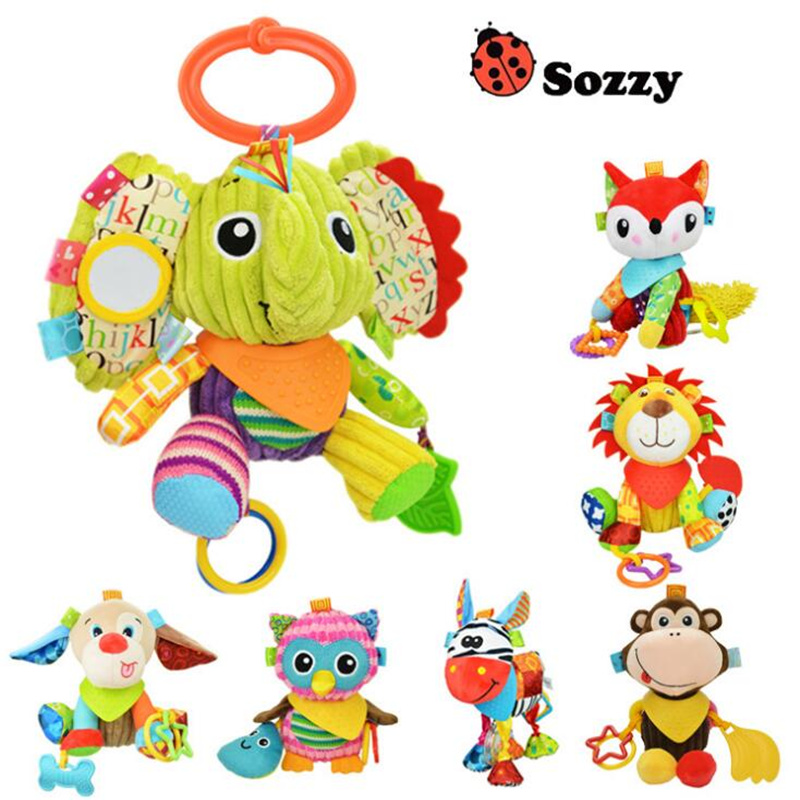 Sozzy Cartoon multifunction Animal Plush Toys Appease Stuffed Doll Plush Kids Teether Toy Stroller Birthday Gifts Hanging Toy