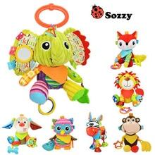Cartoon Kids Djur lejon elefant hund åsna uggla apa Fylld fylld docka plysch leksaker barn födelsedag gåvor