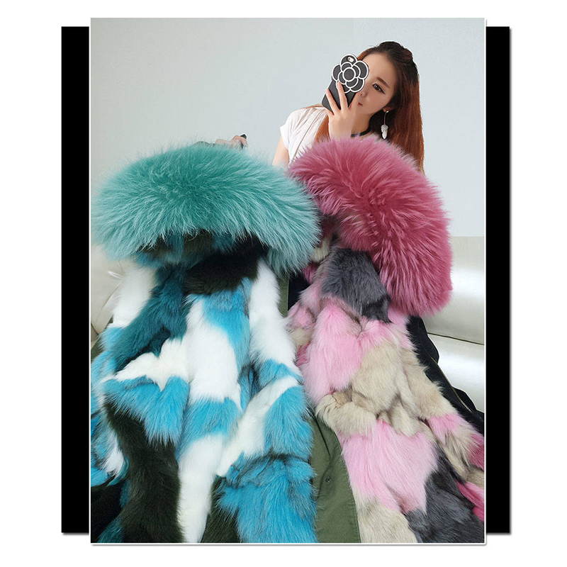 2018 New Fashion Winter women Coat Jacket Warm High Quality Woman Park Jacket Coat Hood Real Raccoon Fur Real fox fur liner