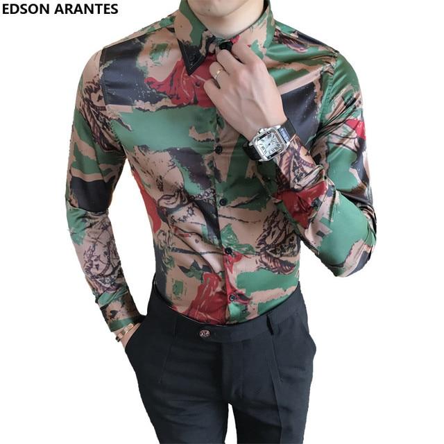 dddcf71fa89b EDSON ARANTES Brand Male Shirt High Quality Camouflage Print Korean Shirt  Men Slim Fit Long Sleeve Party Fancy Dress Shirts