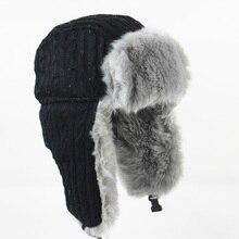 Wuaumx Winter Bomber Hat Russian Hat Men earflaps cap Protec