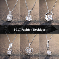 New Arrival Genuine 925 Silver 6 Style Pendant Necklace with Movable AAAAA Zircon Rhodium Plated Necklaces