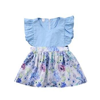 sky blue floral cotton dress