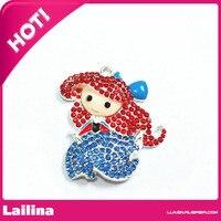 Pretty cartoon girl Princess rhinestone Pendants charm /Rhinestone little girl pendants necklace