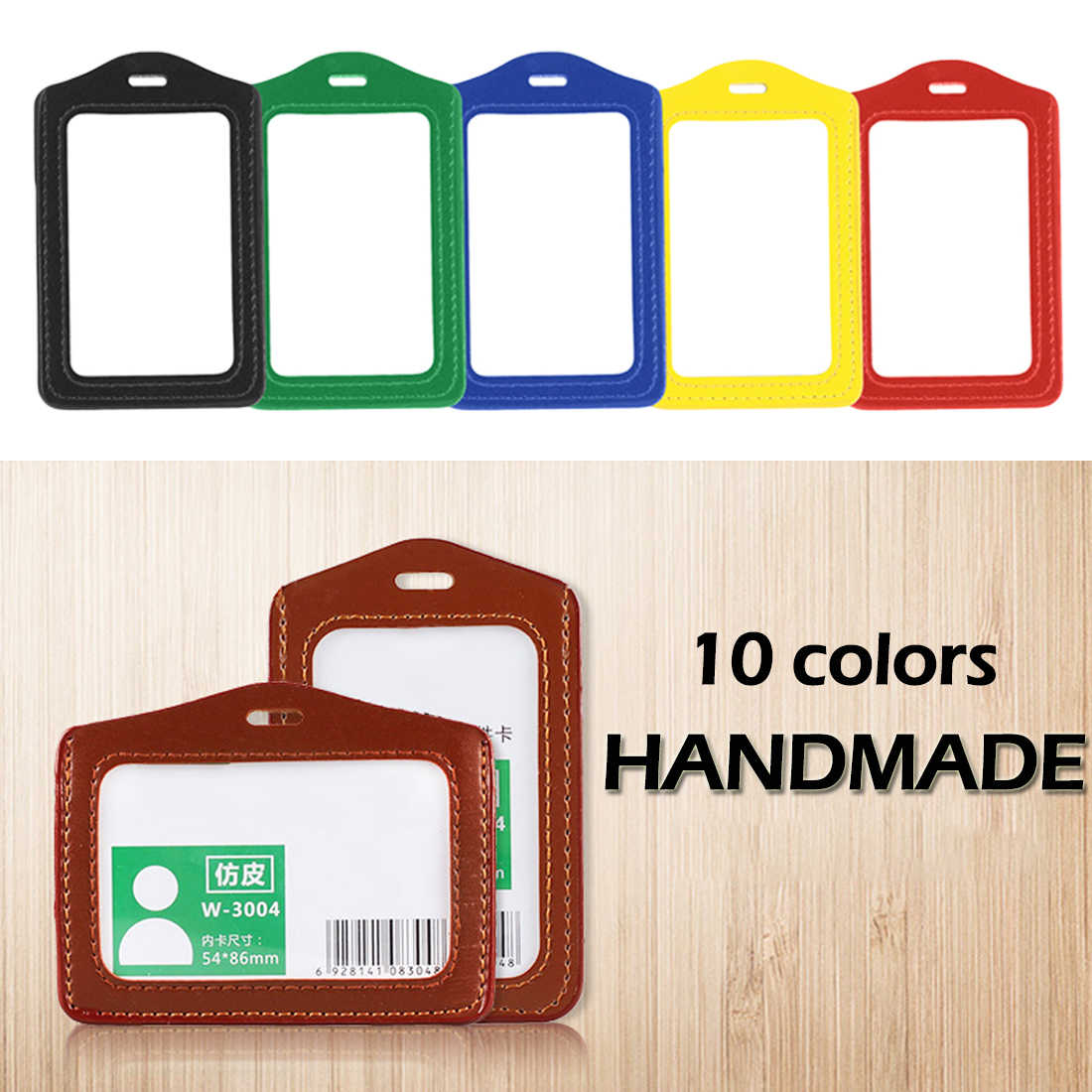 PU Leather ID Badge Case Clear and Color Border Lanyard Holes Bank Credit Card Holders ID Badge Holders Accessories