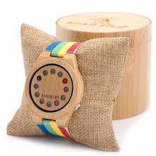 BOBO BIRD A01 Womens Ladies Watch 12 Holes Design Bamboo Watches with Colorful Leather Band in Gift Box Accept Dropshipping