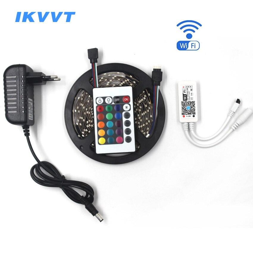 IKVVT 10M 5M 3528 Waterproof Mini wifi RGB LED Strip Light Flexible Ribbon Diode Tape include 12V Power Adapter WiFi Controller