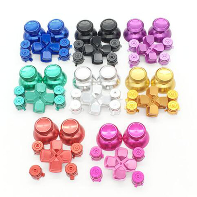 Metal Analog Joystick ThumbStick Grip Caps+Dpad Action D-Pad Buttons for Sony Playstation Dualshock 4 PS4 DS4 Gamepad ControllerMetal Analog Joystick ThumbStick Grip Caps+Dpad Action D-Pad Buttons for Sony Playstation Dualshock 4 PS4 DS4 Gamepad Controller