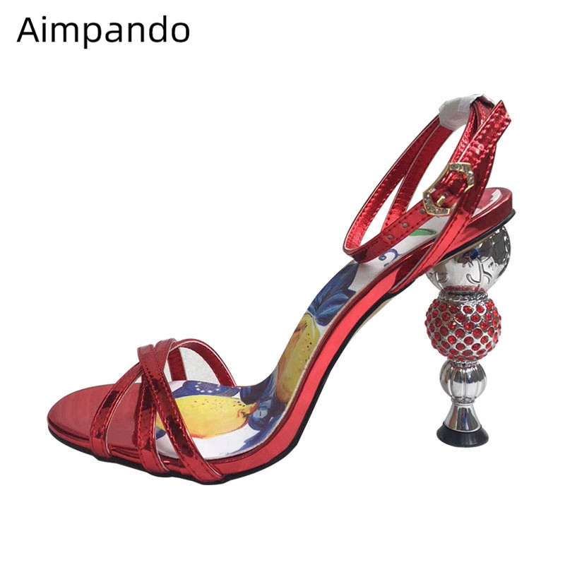 Luxury Jewelled Ball Heel Gladiator Sandals Women Narrow Band Ankle Strap Painted Flower Strange Heel Summer Shoes Woman