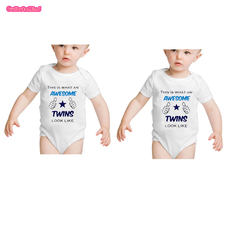 Culbutomind Newborn Twins Baby Bodysuits Short Sleeve Girl ...
