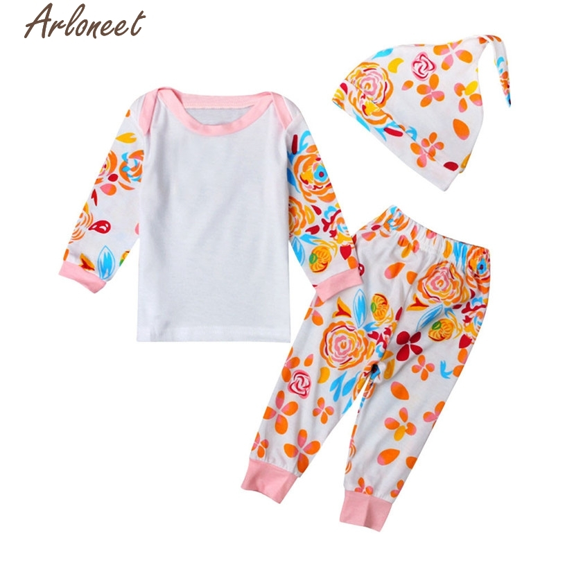 ARLONEET Christmas Pajamas Dress For Baby Girls Newborn Baby Kid Flowers Print Long Sleeve Tops +Stripe Pants Cap Outfits Set &