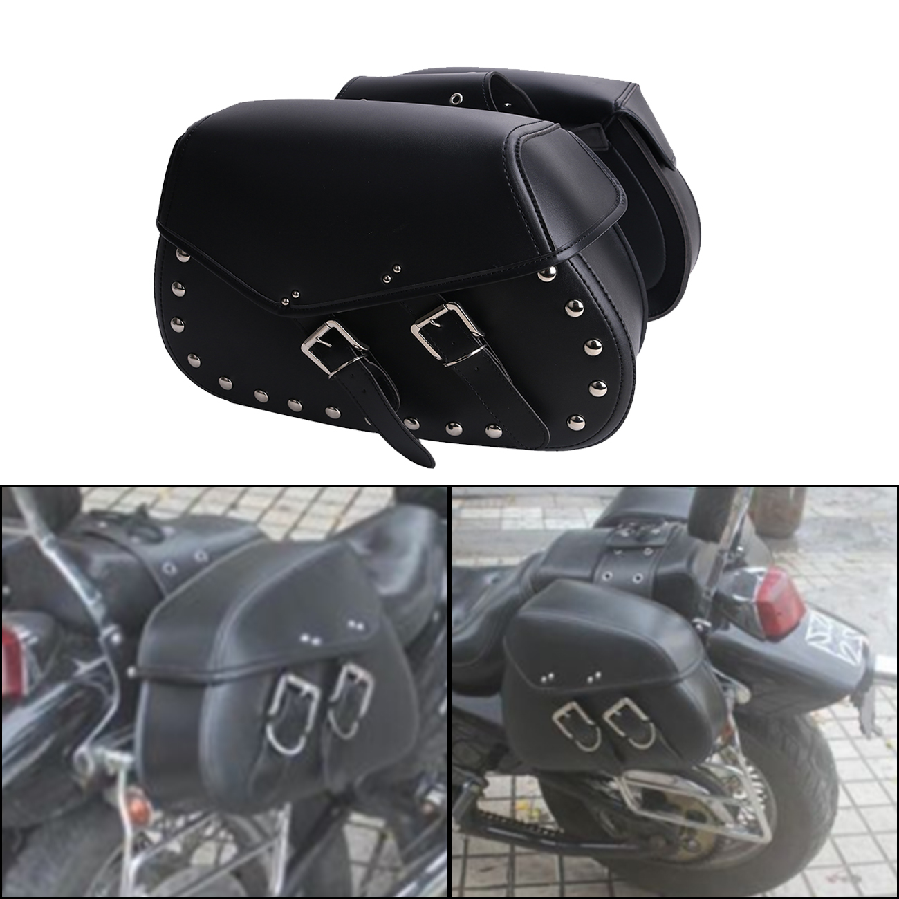 2x Punk Black Leather Rivet Motorcycle Saddle Bag Saddlebag Rider Motorbike Luggage For Harley Yamaha Honda Universal MBH258 for harley yamaha kawasaki honda 1 pair universal motorcycle saddle bags pu leather bag side outdoor tool bags storage undefined