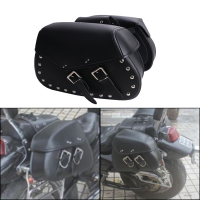 2x Punk Black Leather Rivet Motorcycle Saddle Bag Saddlebag Rider Motorbike Luggage For Harley Yamaha Honda