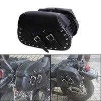 2x Punk Black Leather Rivet Motorcycle Saddle Bag Saddlebag Rider Motorbike Luggage For Harley Yamaha Honda