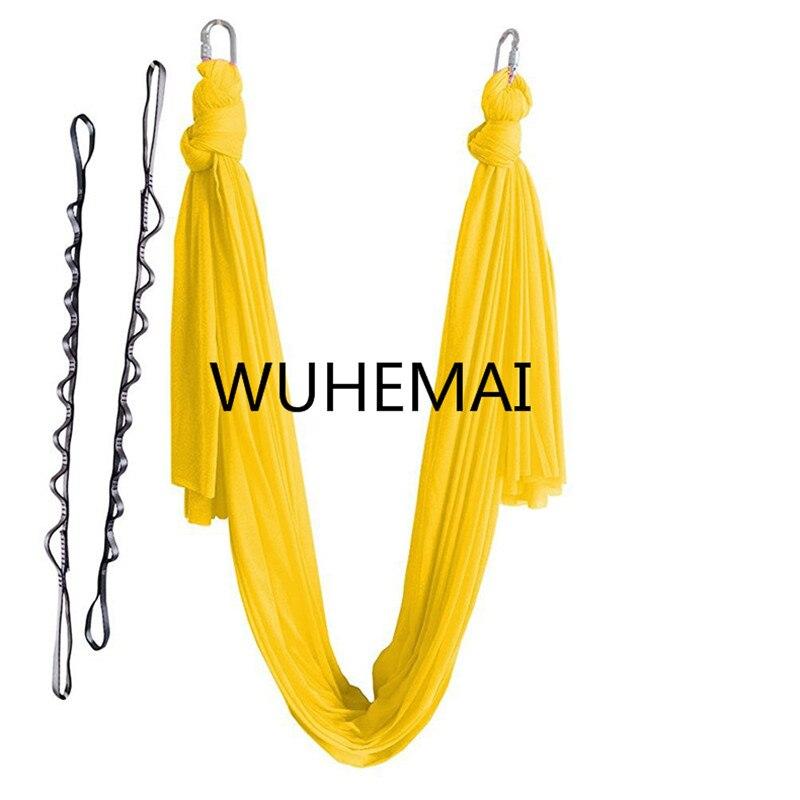 Wuhemai 4 metros hamaca de tela oscilación Aérea Vuelo de Tracción Anti-gravedad Yoga Longitud personalización cinturón de yoga de la yoga hall