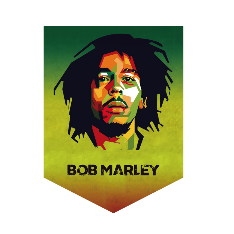 BOB MARLEY 30 cm * 35 cm pennant MUSIC flag hanging polyester decoration image