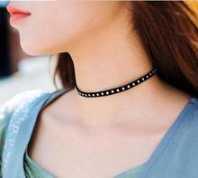Hot Newest fashion jewelry accessories gold plated black choker necklace for couple lovers'  N110