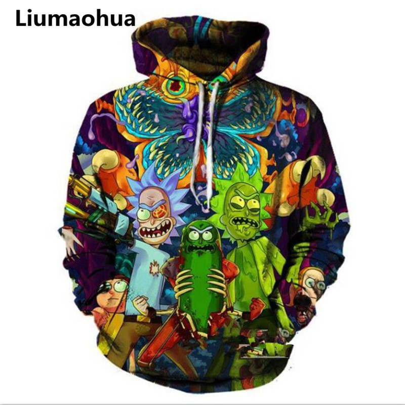Liumaohua 2018 Fashion Hip hop 3d Hoodies Hot cartoon rick and morty printed Women/Men Hoody Streetwear hooded sweatshirts