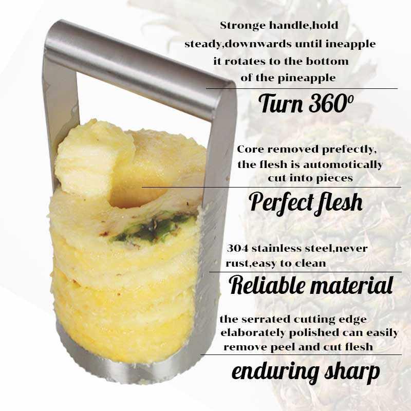 TEENRA Nanas Nanas Cutter Dan Alat Untuk Mengeluarkan Biji Slicer Stainless Steel Nanas Alat Untuk Mengeluarkan Biji Slicer Peeler Pisau Buah Sayuran Tools