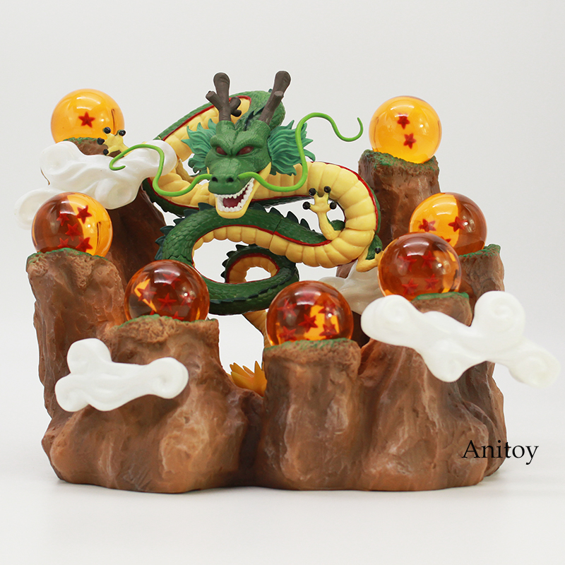 NEW HOT!!! Dragon Ball Z The Dragon Shenron + Mountain Stand + 7 Crystal Balls PVC Figures Collectible Model Toys 4pcs new for ball uff bes m18mg noc80b s04g