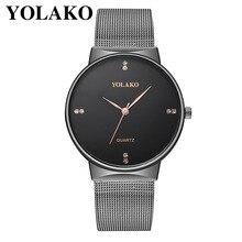 YOLAKO Fashion Brand Diamond Luxury Minimalisme Metal Mesh Strap Mens Watch Gifts Relogio Masculino relogio homme montre 2019