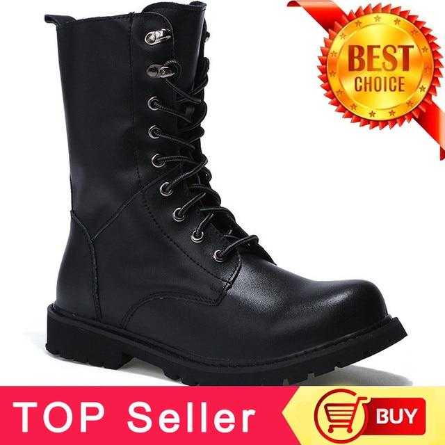 PINSV Askeri Botlar Erkekler Kış Ayakkabı Sıcak Erkek Deri Çizmeler Ayakkabı Kovboy Taktik Çizmeler erkek ayakkabısı Kış Çizmeler Boyutu 38- 48