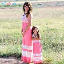 Maman et moi Mère Fille Robes Famille Correspondant Tenues Maman Ours Bébé D'été Maman Et Fille robe Enfants Vêtements De Mariage