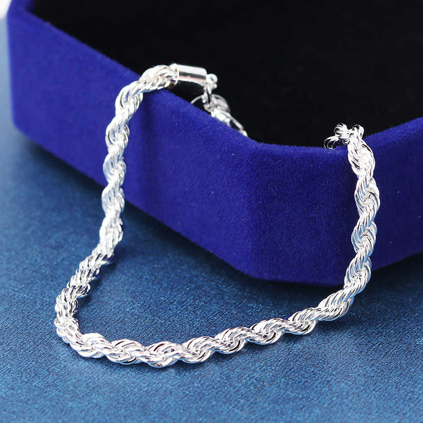 1PC High Quality Silver Plated Bracelets Bangles 20cm Flash Twisted Rope Pulseira Bracelets Jewelry