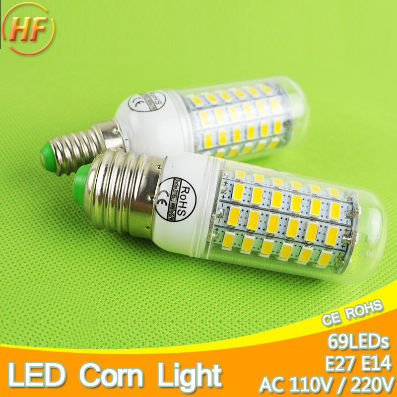 Top quality 69leds lampada led e14 e27 led lamp 220v 110v for Lampada led e14