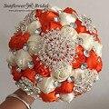 Мода кристалл свадебные букеты романтические шелковые свадебные брошь букет свадебные цветы свадебные букеты букет де mariée