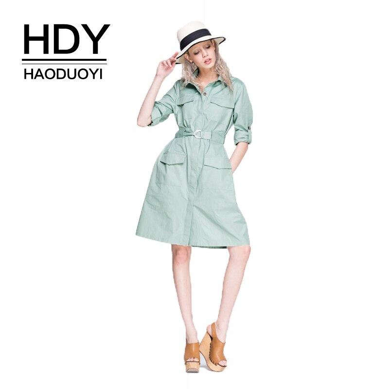 HDY Haoduoyi бренд 2017 шнурок платье Для женщин зеленый отложной воротник с длинными рукавами платье трапециевидной формы рубашка слим Стиль плат...