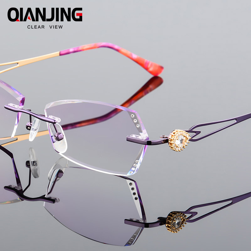 6d90a102291e 2018 Eyeglasses Rimless Women Myopia Prescription Eye Glasses Diopter  Rhinestone High Clear Lenses purple Ladies Reading Eyewear-in Prescription  Glasses ...